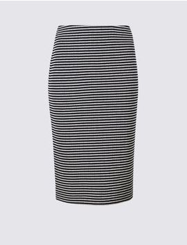 Cotton Blend Striped Jersey Pencil Skirt by Marks & Spencer