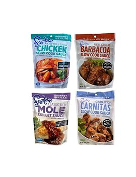 Frontera Gourmet Mexican Simmer Sauce 4 Flavor Variety Bundle, 1 Each: Chipotle Tinga Chicken, Red Chile Barbacoa, Oaxacan Red Chile Mole, And Garlicky Carnitas, 8 Oz. Ea. (4 Pouches Total) by Frontera