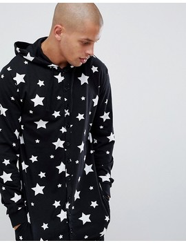Asos Design Mr & Mrs Hooded Onesie With Star Print by Asos Design