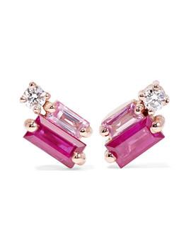Ohrringe Aus 18 Karat Roségold Mit Diamanten Und Saphiren by Suzanne Kalan