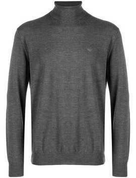 Embroidered Logo Turtleneck Sweater by Emporio Armani