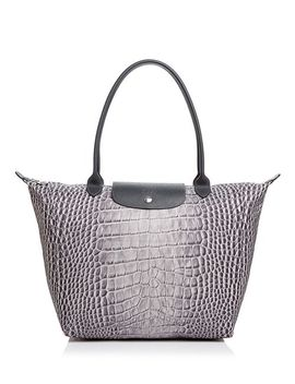 Le Pliage Croc Print Nylon Shoulder Tote by Longchamp