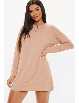 Camel Oversized Zip Front T Shirt Dress by Missguided