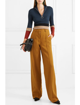 Color Block Ribbed Wool And Silk Blend Sweater by Marni