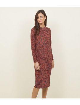 Rust Leopard Print Slinky Midi Dress by New Look