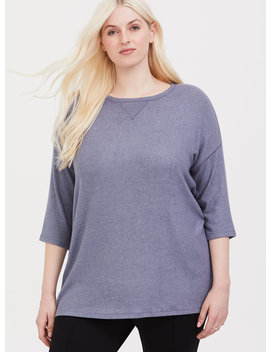 Blue Dolman Cozy Brushed Hacci Top by Torrid