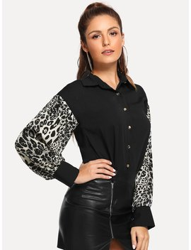 Contrast Leopard Sleeve Blouse by Shein