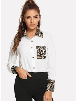 Contrast Leopard Print Blouse by Shein