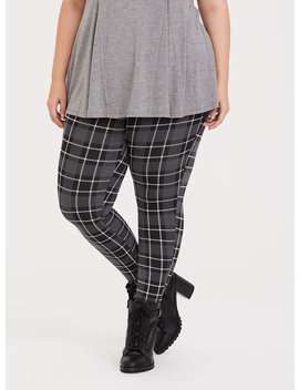 Grey Plaid Knit Legging by Torrid