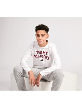 Junior Essential Long Sleeve T Shirt | White by Tommy Hilfiger