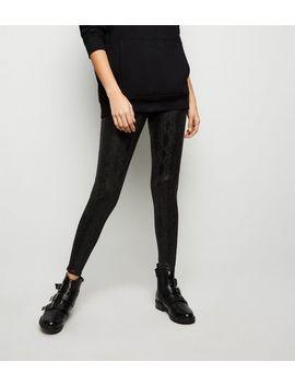 Black Wet Look Snake Print Leggings by New Look