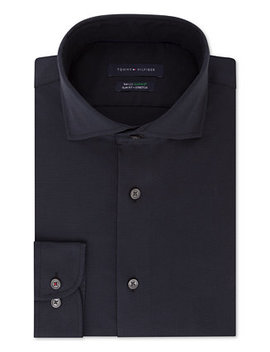Men's Slim Fit Th Flex Performance Stretch Non Iron Navy Houndstooth Dress Shirt by Tommy Hilfiger