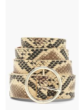 Faux Snake Circle Ring Belt by Boohoo