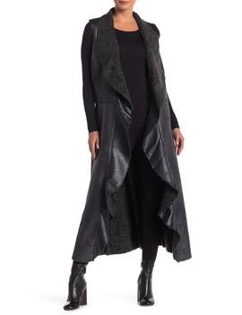 Diago Faux Leather & Faux Fur Drape Collar Vest by Muche Et Muchette
