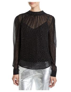 Melling Embellished Silk Long Sleeve Top by Veronica Beard