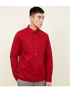 Red Pocket Front Snap Through Shacket by New Look