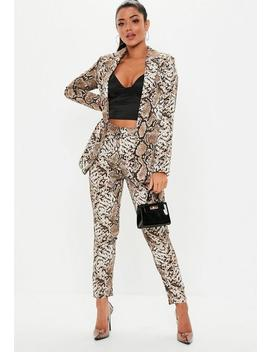 Stone Snake Print Cigarette Trousers by Missguided