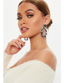 Black White Rectangle Drop Hoop Earrings by Missguided