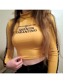 Long Sleeve Tshirt Women Yellow Turtleneck Quentin Tarantino Letter Print 2018 Autumn Short Tshirt Women's Clothing Wholesale by Perets