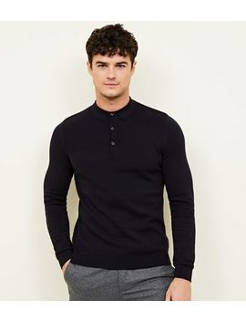 Navy Muscle Fit Long Sleeve Knitted Polo Shirt by New Look