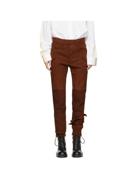 Brown Binding Detail Trousers by Haider Ackermann
