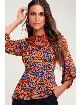 Color Me Wild Orange And Navy Blue Leopard Print Peplum Top by Lulus