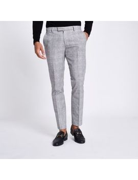 Light Grey Check Skinny Fit Suit Trousers by River Island