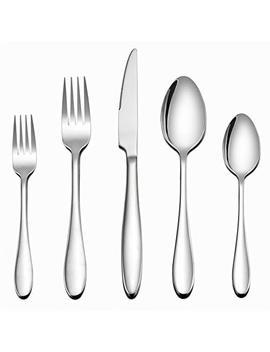 Lianyu Silverware Set 20 Piece, Stainless Steel Flatware Utensils Set Service For 4, Simple Look & Modern Design, Dishwasher Safe by Lianyu