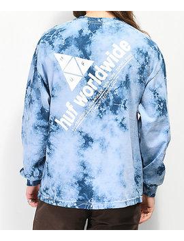 Huf Peak Logo Script Blue Washed Long Sleeve T Shirt by Huf