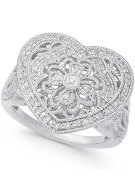 Diamond Fancy Filigree Heart Ring (1/7 Ct. T.W.) In Sterling Silver by Macy's