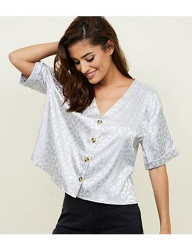 Silver Leopard Jacquard Satin Boxy Shirt by New Look