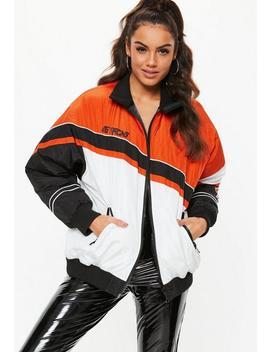 Orange Speed Racing Padded Windbreaker Jacket by Missguided