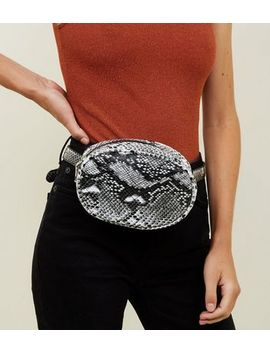 Black Faux Snake Round Bumbag by New Look