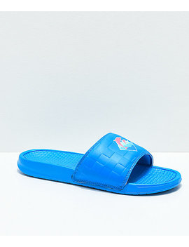 Pink Dolphin Waves 2.0 Blue Slide Sandals by Pink Dolphin