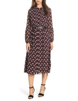 Chevron Belted Midi Dress by Michael Michael Kors