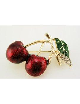 """Joan Rivers Enamel  Faux Pearl & Crystal Cherry Brooch    1 1/4"""" by Etsy"""