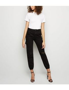 Black Ripped Cargo Jeans by New Look