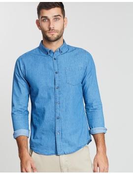 Mid Wash Ls Denim Shirt by Burton Menswear
