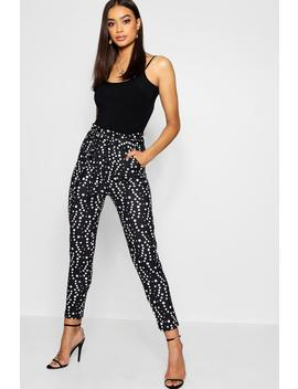 Spot Paper Bag Waist Belted Trouser by Boohoo