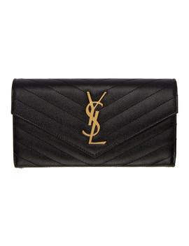 Black Monogram Large Flap Wallet by Saint Laurent