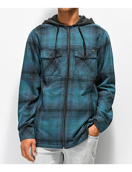 Empyre Retreat Blue & Black Hooded Flannel Shirt by Empyre