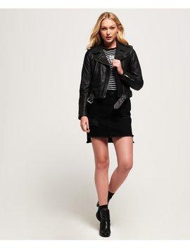 Kiki Leather Biker Jacket by Superdry