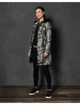 Camo Jacquard Hooded Parka by Ted Baker