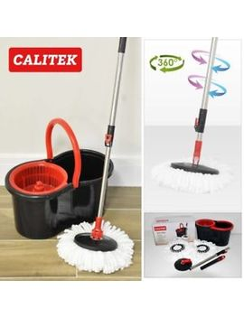 360° Floor Cleaner Spin Mop & Bucket, Adjustable Handle & 2 Mop Heads by Ebay Seller