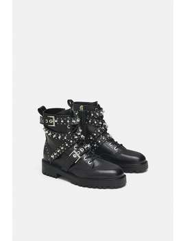 Bejewelled Leather Ankle Boots  Special Priceswoman by Zara