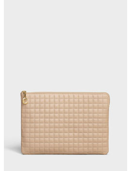C Charm Pouch In Quilted Calfskin by Celine