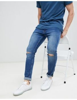Jack & Jones Skinny Jeans With Rip Knee In Mid Blue Denim by Jack & Jones