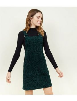 Green Leopard Print Corduroy Pinafore Dress by New Look