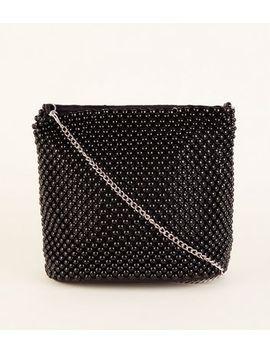 Black Beaded Bucket Bag by New Look