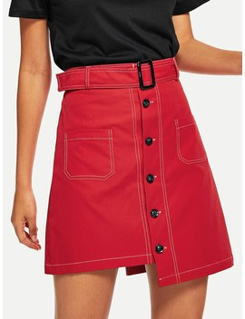 Single Breasted Dip Hem Belted Skirt by Shein